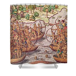 Battle Between Indian Tribes Shower Curtain by Jacques Le Moyne