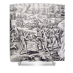 Battle Between Tuppin Tribes Shower Curtain by Theodore De Bry