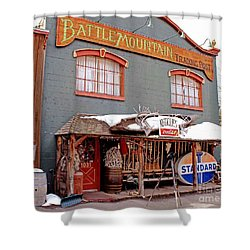 Battle Mountain Trading Post Shower Curtain by Fiona Kennard