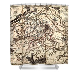 Battle Of Waterloo Old Map Shower Curtain