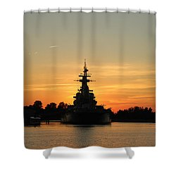 Shower Curtain featuring the photograph Battleship At Sunset by Cynthia Guinn