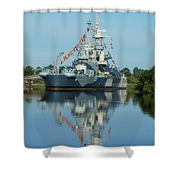 Battleship Reflections Shower Curtain by Bob Sample