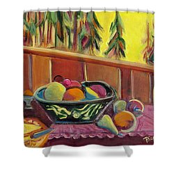 Shower Curtain featuring the painting Bavarian Breakfast With Strawberry Milk by Betty Pieper