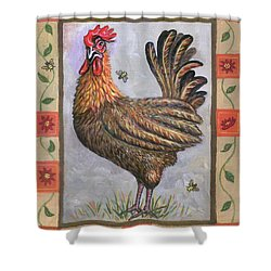 Baxter The Rooster Shower Curtain by Linda Mears