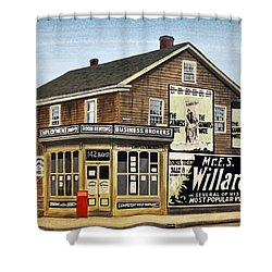 Shower Curtain featuring the painting Bay And Adelaide Streets 1910 by Kenneth M  Kirsch