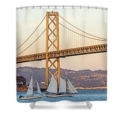 Bay Bridge Gold Shower Curtain by Kate Brown