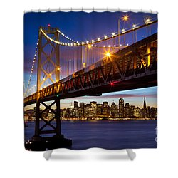 Bay Bridge Shower Curtain by Inge Johnsson