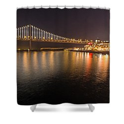 Shower Curtain featuring the photograph Bay Bridge Lights And City by Kate Brown