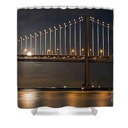 Shower Curtain featuring the photograph Bay Bridge Moon Rising by Kate Brown