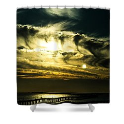 Shower Curtain featuring the photograph Bay Bridge Sunset by Angela DeFrias
