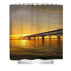 Bay Bridge Sunset Glow Shower Curtain
