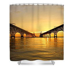 Bay Bridge Sunset Shower Curtain