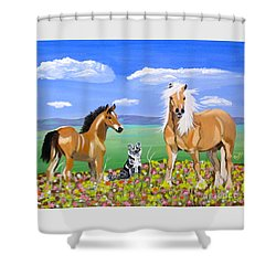 Bay Colt Golden Palomino And Pal Shower Curtain