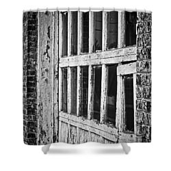 Shower Curtain featuring the photograph Bay Door In B/w by Greg Jackson
