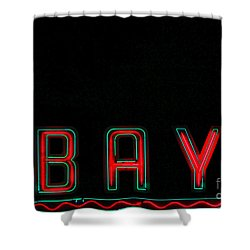 Bay In Neon  Shower Curtain by Kris Hiemstra