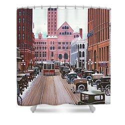 Bay Street Christmas Eve 1924 Shower Curtain by Kenneth M  Kirsch