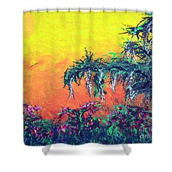 Shower Curtain featuring the painting Bayou Honeymoon by Alys Caviness-Gober