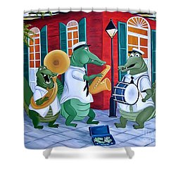Bayou Street Band Shower Curtain