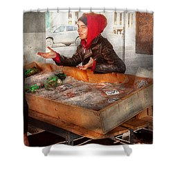 Bazaar - I Sell Fish  Shower Curtain by Mike Savad