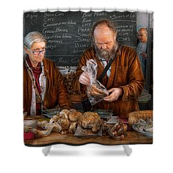 Bazaar - We Sell Fresh Mushrooms Shower Curtain by Mike Savad