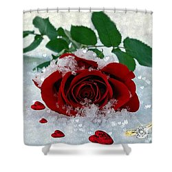 Shower Curtain featuring the mixed media Be Mine by Morag Bates