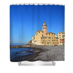 Shower Curtain featuring the photograph beach and church in Camogli by Antonio Scarpi