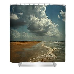 Beach And Clouds Shower Curtain by Linda Unger