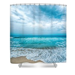 Shower Curtain featuring the photograph Beach And Waves by Yew Kwang