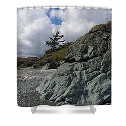 Beach At Fort Rodd Hill Shower Curtain