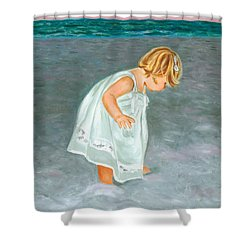 Beach Baby In White Shower Curtain
