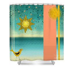 Shower Curtain featuring the painting Beach Bird by Carol Jacobs