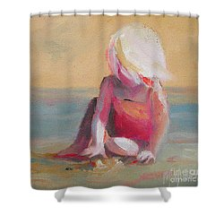 Beach Blonde Girl In The Sand Shower Curtain
