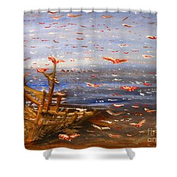 Beach Boat And Birds Shower Curtain