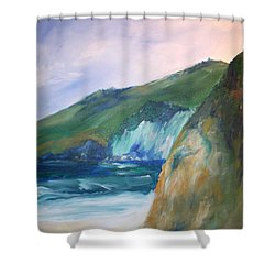 Shower Curtain featuring the painting Beach California by Eric  Schiabor