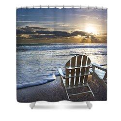 Beach Chairs Shower Curtain by Debra and Dave Vanderlaan