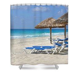 Beach Chairs In Cancun Shower Curtain