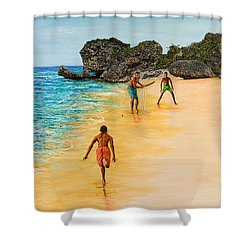 Beach Cricket Shower Curtain by Victor Collector