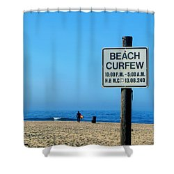 Beach Curfew Shower Curtain by Tammy Espino