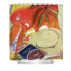 Shower Curtain featuring the painting Beach Day by Carol Flagg