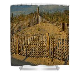 Beach Fence Shower Curtain by Susan Candelario