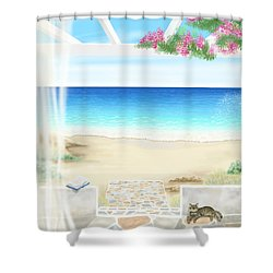 Beach House Shower Curtain by Veronica Minozzi