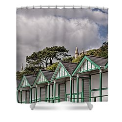 Beach Huts Langland Bay Swansea 3 Shower Curtain by Steve Purnell