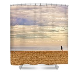 Beach Jogger Shower Curtain by Chuck Staley