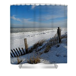 Beach On A Winter Morning Shower Curtain by Dianne Cowen