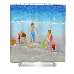 Beach Painting - Sandcastles Shower Curtain