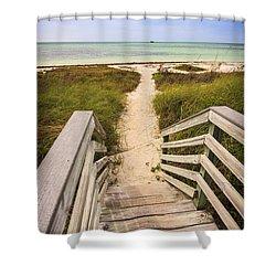 Beach Path Shower Curtain by Adam Romanowicz