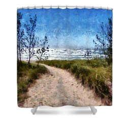 Beach Path Shower Curtain by Michelle Calkins