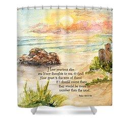Beach Post Sunrise Psalm 139 Shower Curtain