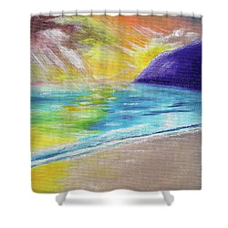Shower Curtain featuring the painting Beach Reflection by Thomas J Herring