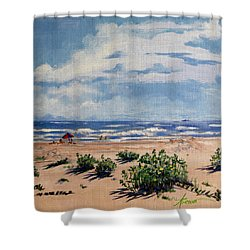 Beach Scene On Galveston Island Shower Curtain